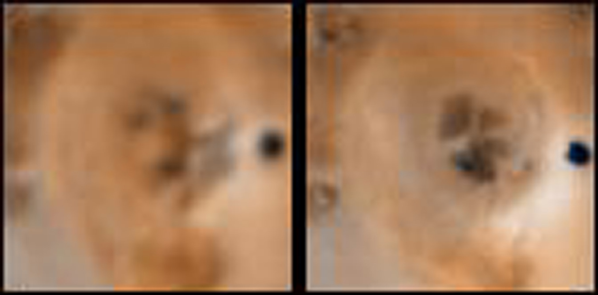 Detail of changes around a probable vent about 650 kilometers north of Prometheus on Jupiter's moon Io as seen in images obtained by the NASA's Voyager 1 spacecraft in April 1979 (left) and NASA's Galileo spacecraft on Sept. 7th, 1996 (right).