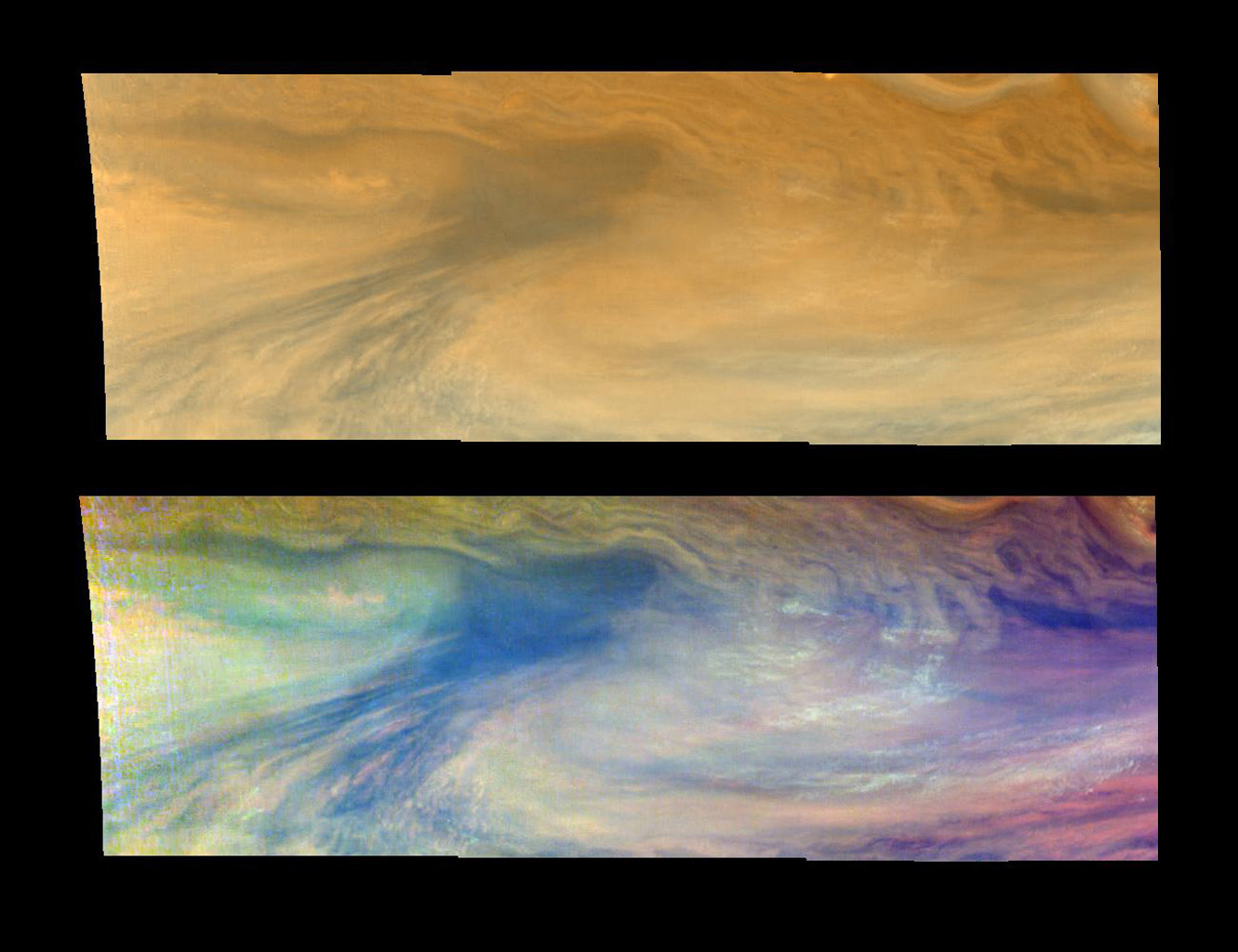 These true and false color views of an equatorial 'hotspot' on Jupiter were taken by NASA's Galileo spacecraft on Dec. 17, 1996.