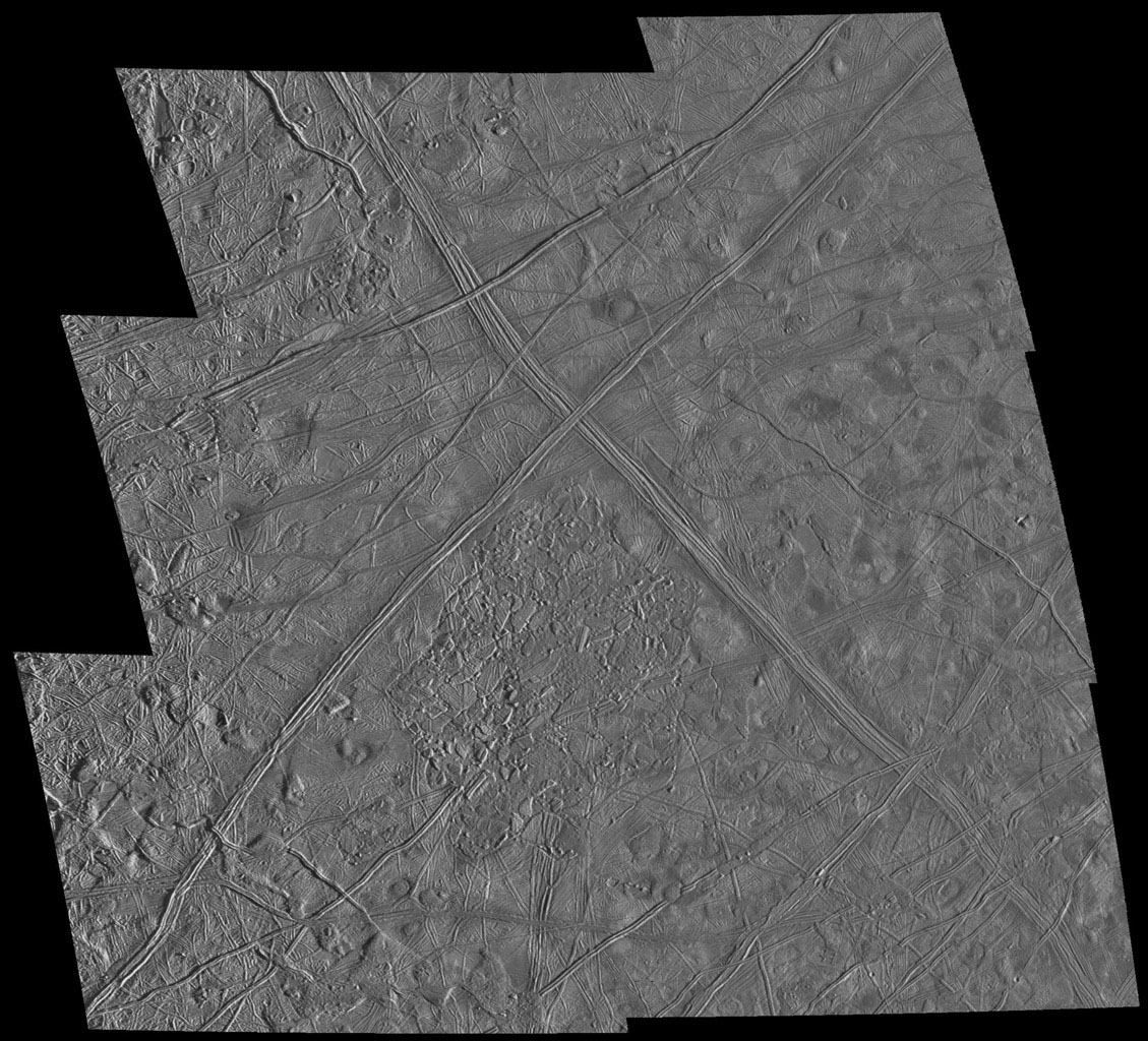This six frame mosaic of Europa's surface shows a variety of interesting geologic features. These images were obtained by the Solid State Imaging (CCD) system on NASA's Galileo spacecraft during its sixth orbit around Jupiter.