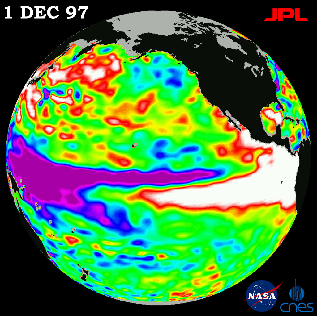 This image of the Pacific Ocean was produced using sea surface height measurements taken by NASA's U.S./French TOPEX/Poseidon satellite. The image shows sea surface height relative to normal ocean conditions on Dec. 1, 1997.