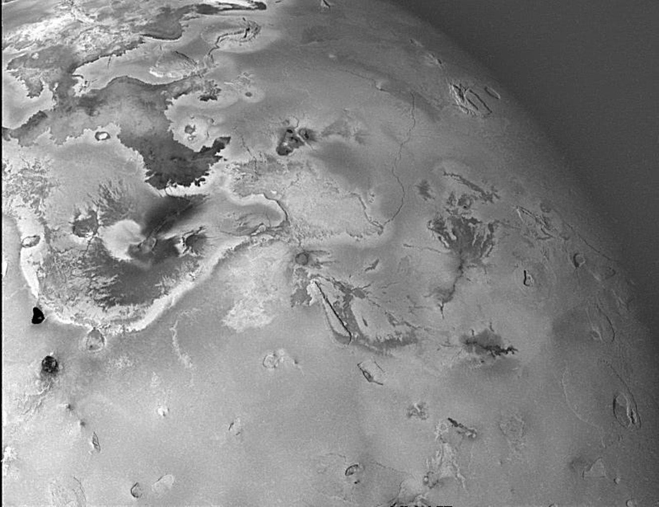 Shown here is one of the topographic mapping images of Jupiter's moon Io (Latitude: +2 to +65 degrees, Longitude: 150 to 223 degrees) acquired by NASA's Galileo spacecraft, revealing a great variety of landforms.