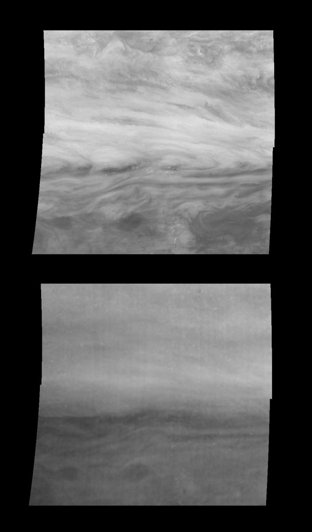 Mosaics of a belt-zone boundary near Jupiter's equator in near-infrared light moderately absorbed by atmospheric methane, and strongly absorbed by atmospheric methane. Images that make up each of these mosaics are from NASA's Galileo spacecraft.