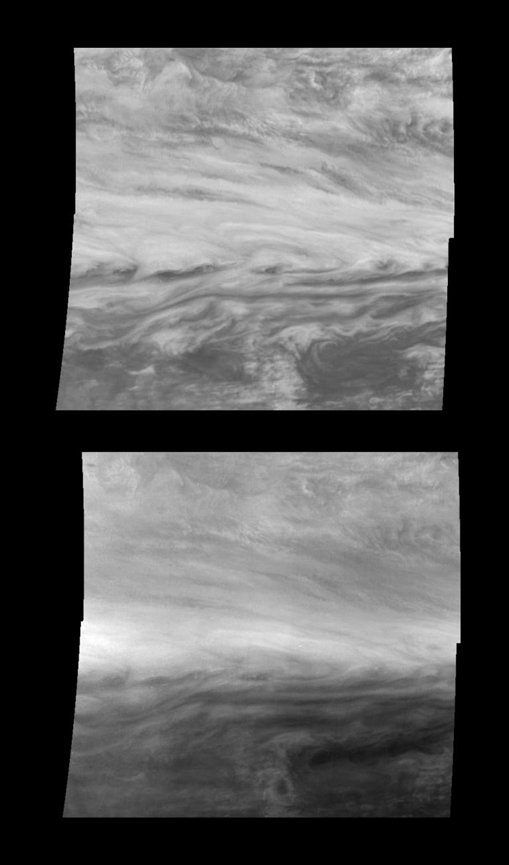 Mosaics of a belt-zone boundary near Jupiter's equator in violet (top panel) and near-infrared (bottom panel) light. The four images that make up each of these mosaics are from NASA's Galileo spacecraft.