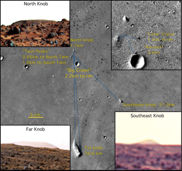Five prominent features on the horizon show the location of NASA's Mars Pathfinder North Knob, Southeast Knob, Far Knob, Twin Peaks, and Big Crater, seen in this mosaic of NASA's Viking orbiter in 1997.