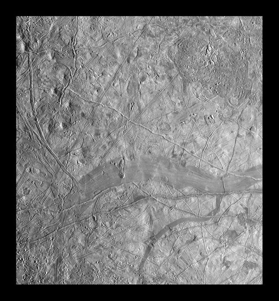 This mosaic of part of Jupiter's moon, Europa, shows a region that is characterized by mottled terrain. The images in this mosaic were obtained by Solid State Imaging (CCD) system on NASA's Galileo spacecraft during its eleventh orbit around Jupiter.