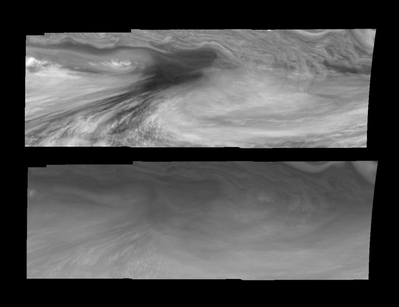 Mosaics of an equatorial 'hotspot' on Jupiter at 756 nanometers (top) and 410 nanometers (bottom). The mosaics captured by the Solid State Imaging system aboard NASA's Galileo spacecraft cover an area of 34,000 kilometers by 11,000 kilometers.