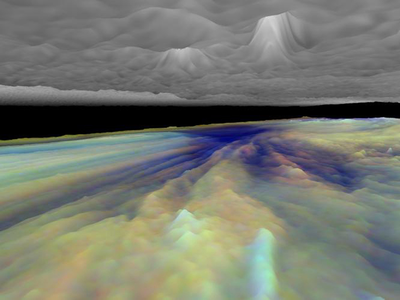 Frames from a three dimensional visualization of Jupiter's equatorial region. The images used cover an area near an equatorial 'hotspot' similar to the site where the probe from NASA's Galileo spacecraft entered Jupiter's atmosphere on December 7th, 1995.
