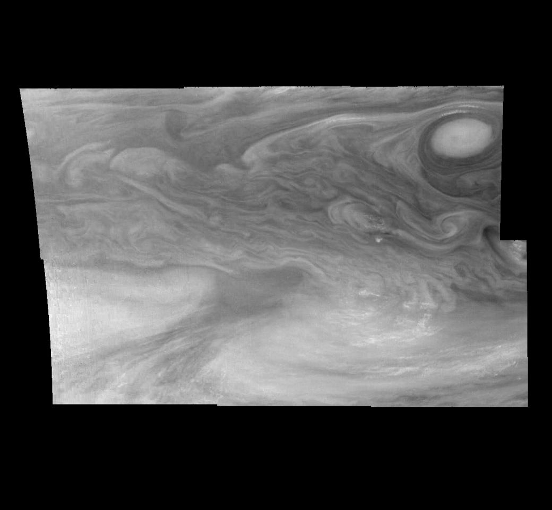 Mosaic of Jupiter's equatorial region at 727 nanometers (nm). The mosaic covers an area of 34,000 kilometers by 22,000 kilometers. These images were taken on December 17, 1996 by the Solid State Imaging system aboard NASA's Galileo spacecraft.