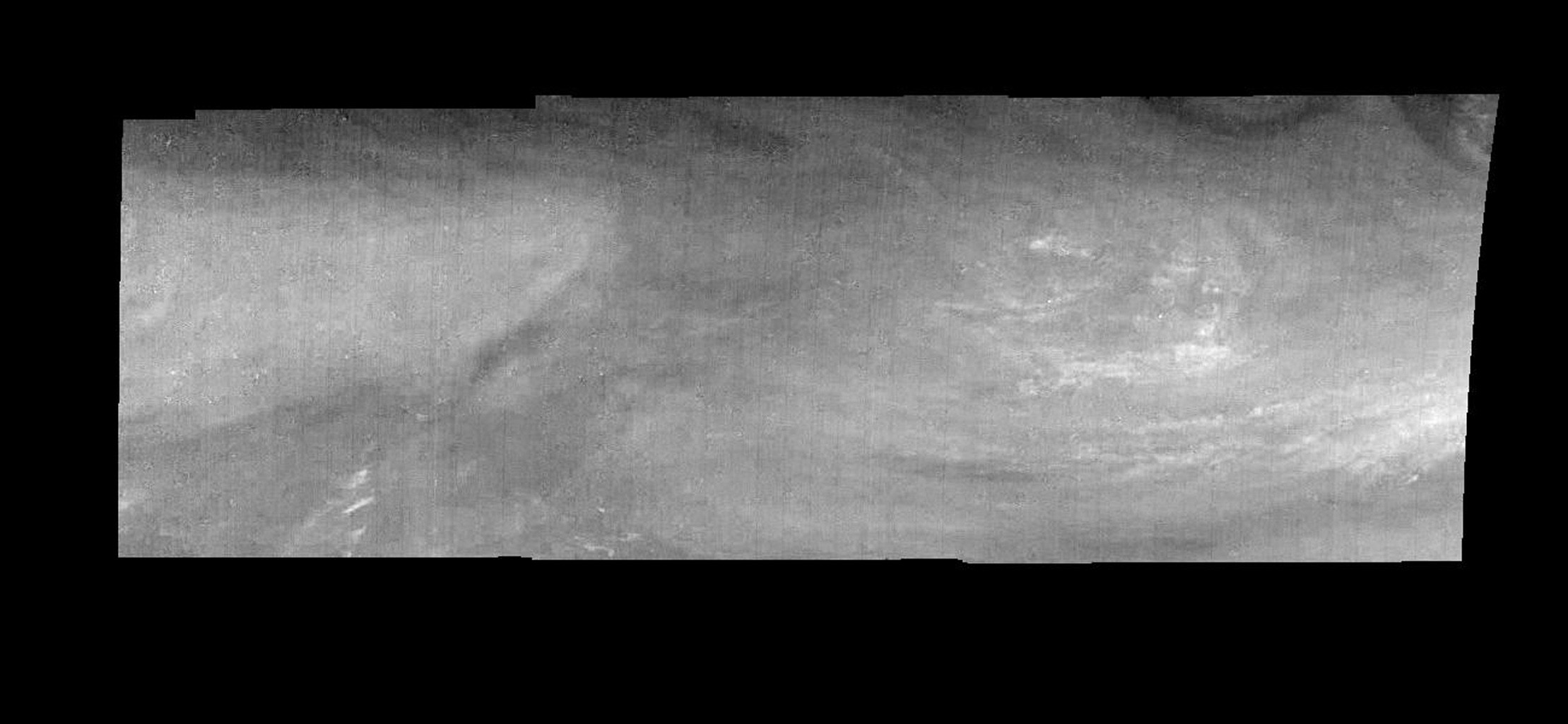 Mosaic of an equatorial 'hotspot' on Jupiter at 889 nanometers (nm). The mosaic covers an area of 34,000 kilometers by 11,000 kilometers. These images were taken on December 17, 1996 by the Solid State Imaging system aboard NASA's Galileo spacecraft.