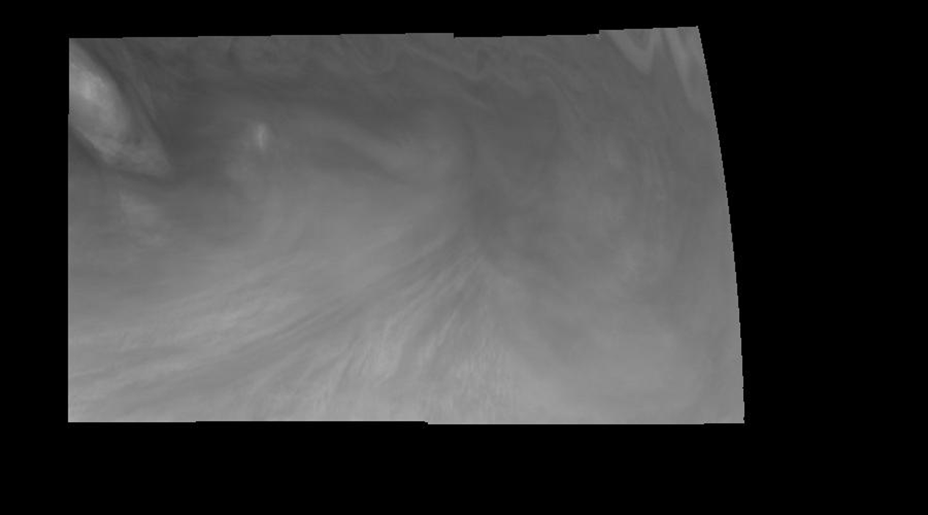 Mosaic of an equatorial 'hotspot' on Jupiter at 410 nanometers (nm). The mosaic covers an area of 34,000 kilometers by 11,000 kilometers. These images were taken on December 17, 1996 by the Solid State Imaging system aboard NASA's Galileo spacecraft.