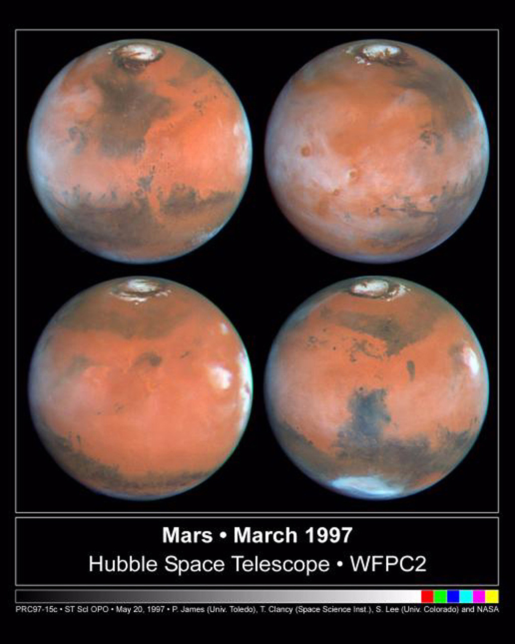 Four faces of Mars as seen on March 30, 1997 are presented in this montage of NASA Hubble Space Telescope images. Proceeding in the order upper-left, upper-right, lower-left, lower-right, Mars has rotated about ninety degrees.