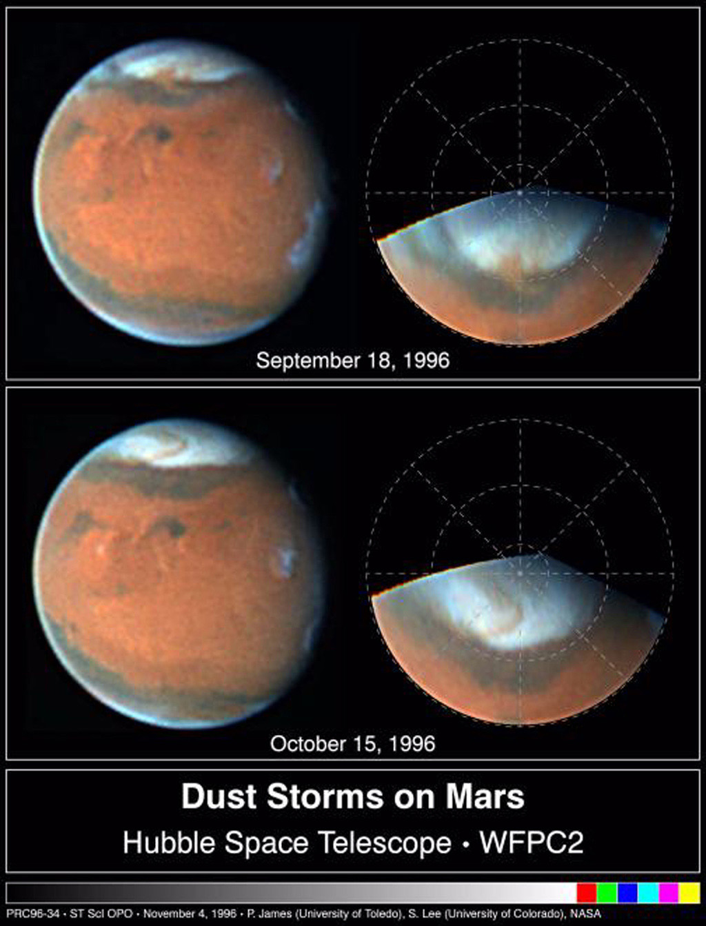Two NASA Hubble Space Telescope images of Mars, taken about a month apart on September 18 and October 15, 1996, reveal a state-sized dust storm churning near the edge of the Martian north polar cap.