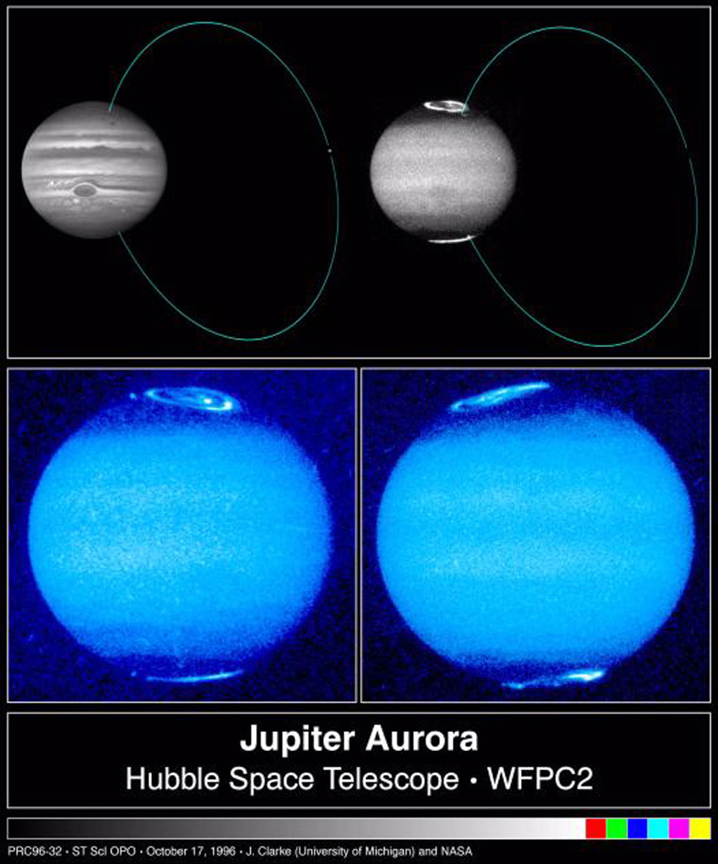 These images, taken by NASA's Hubble Space Telescope, reveal changes in Jupiter's auroral emissions and how small auroral spots just outside the emission rings are linked to the planet's volcanic moon, Io.