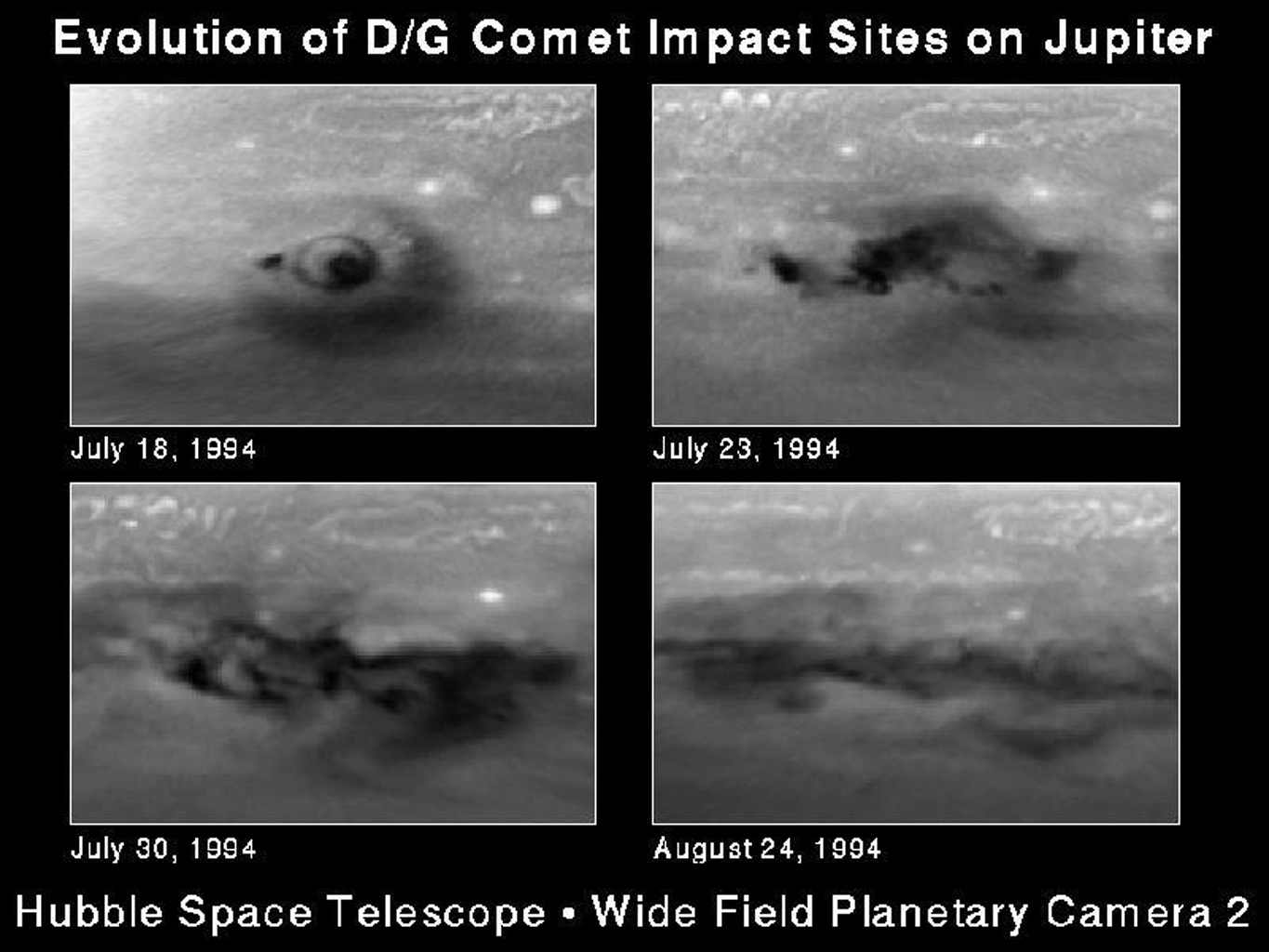 This series of snapshots, taken with NASA's Hubble Space Telescope, shows evolution of the comet P/Shoemaker-Levy 9 impact region called the D/G complex.