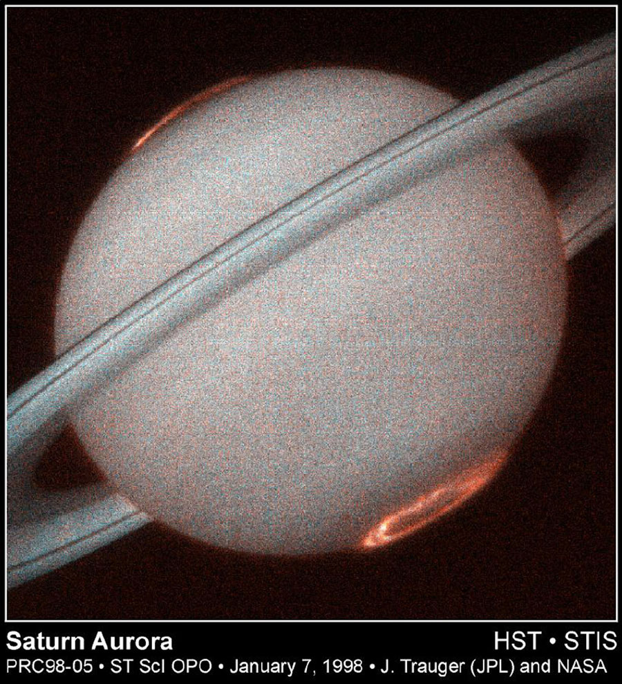 This is the first image of Saturn's ultraviolet aurora taken by the Space Telescope Imaging Spectrograph (STIS) onboard the Hubble Space Telescope in October 1997.