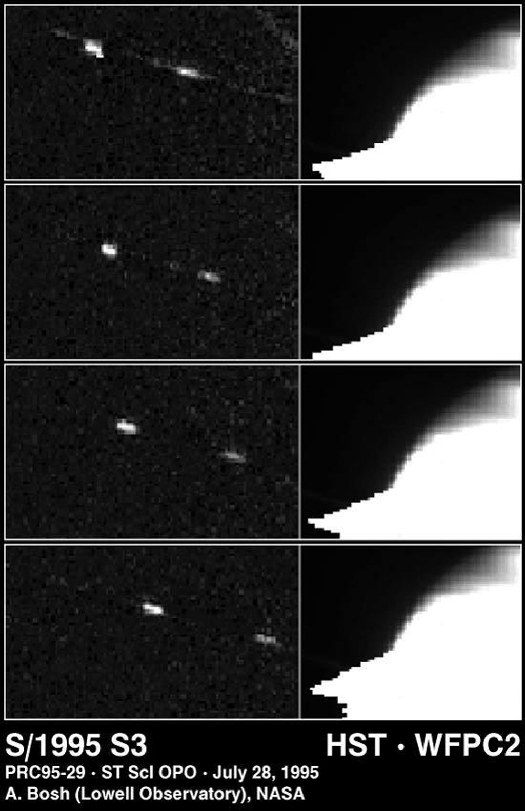 This four-picture sequence (spanning 30 minutes) shows one of four moons discovered by NASA's Hubble Space Telescope, in images taken of Saturn on May 22, 1995, when Saturn's rings were tilted edge-on to Earth.