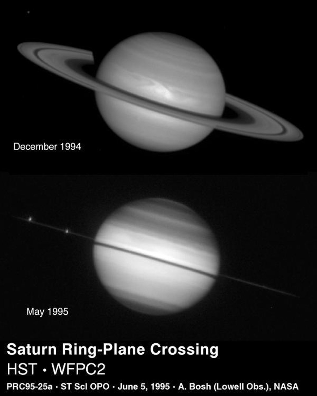 NASA's Hubble Space Telescope captured Saturn on May 22, 1995 as the planet's magnificent ring system turned edge-on. This ring-plane crossing occurs approximately every 15 years when the Earth passes through Saturn's ring plane.