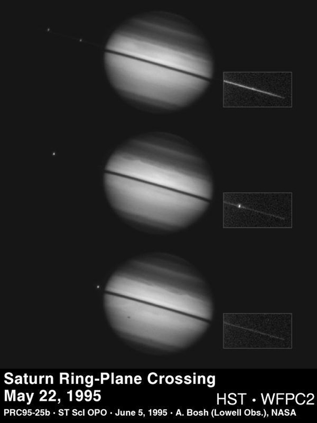 This sequence of images from NASA's Hubble Space Telescope, taken on May 22, 1995, documents a rare astronomical alignment, Saturn's magnificent ring system turned edge-on. This occurs when the Earth passes through Saturn's ring plane.