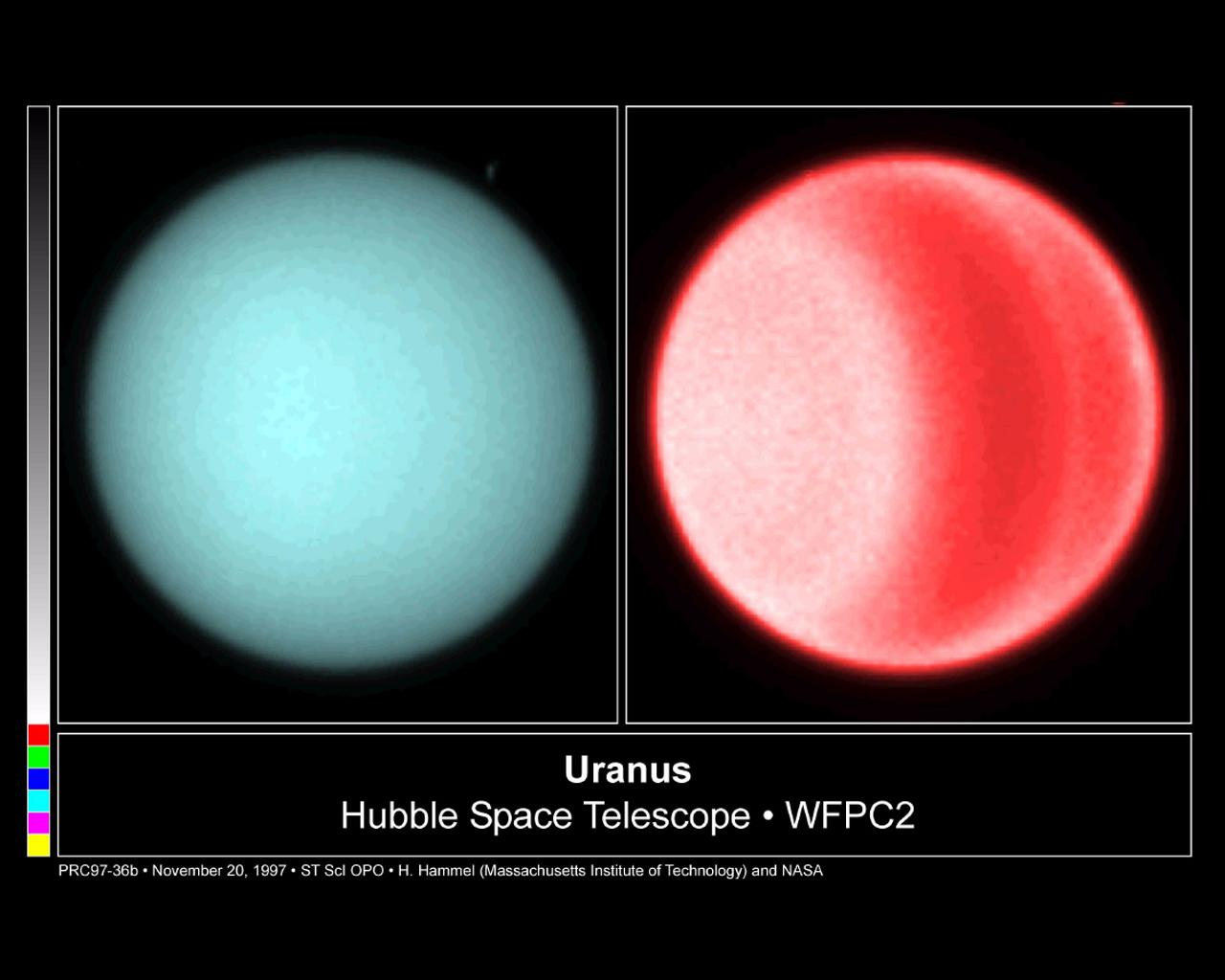 Taken in 1997, NASA's Hubble Space Telescope, using visible light, detected clouds in the northern hemisphere of Uranus.