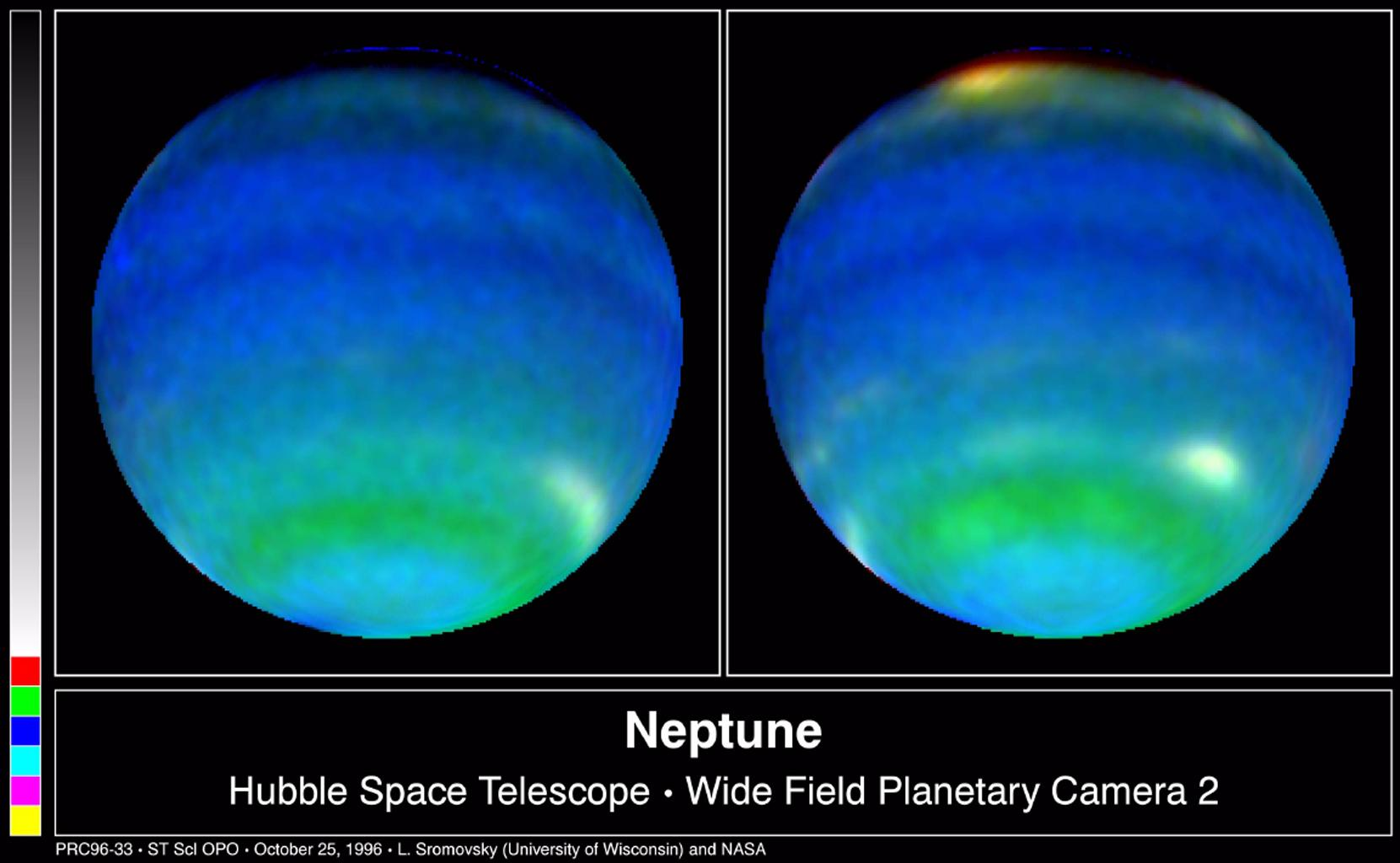 These two NASA Hubble Space Telescope images provide views of weather on opposite hemispheres of Neptune. Taken Aug. 13, 1996; these composite images blend information from different wavelengths to bring out features of Neptune's blustery weather.