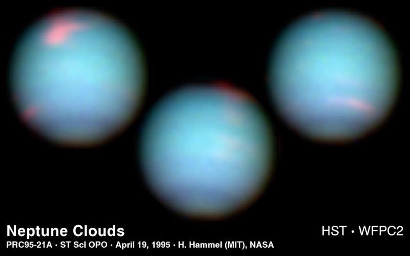 These NASA Hubble Space Telescope views of the blue-green planet Neptune provide three snapshots of changing weather conditions. The images were taken in 1994 on 3 separate days when Neptune was 2.8 billion miles (4.5 billion kilometers) from Earth.