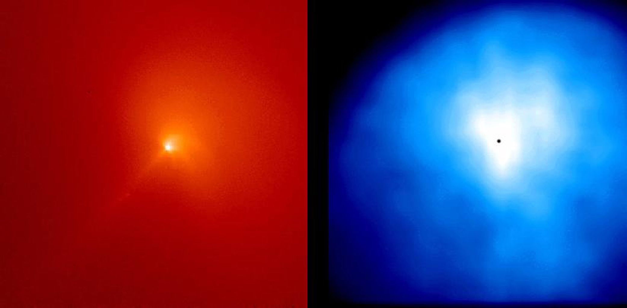 These are two images of the inner coma of Comet Hyakutake made on April 3 and 4, 1996, using the NASA Hubble Space Telescope Wide Field Planetary Camera 2 (WFPC2).