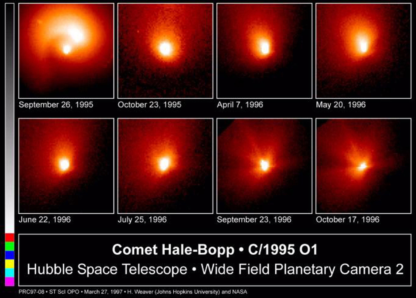 This is a series of NASA Hubble Space Telescope observations of the region around the nucleus of Hale-Bopp, taken on eight different dates since September 1995.