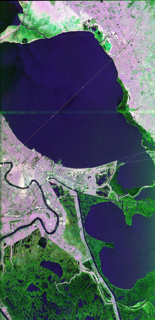 This image of the area surrounding the city of New Orleans, Louisiana in the southeastern United States demonstrates the ability of multi-frequency imaging radar to distinguish different types of land cover.