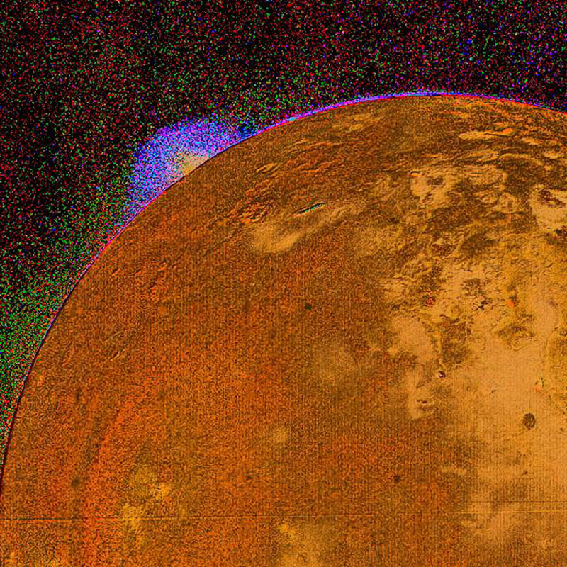 This picture shows a special color reconstruction of one of the erupting volcanos on Io discovered by NASA's Voyager 1 during its encounter with Jupiter on the 4th and 5th of March, 1979.