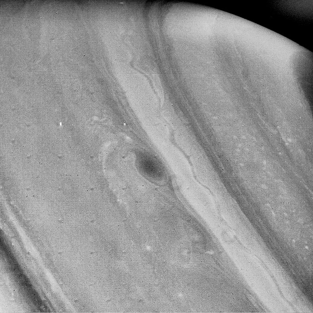 This image of Saturn from NASA's Voyager 2, obtained Aug. 21 from a distance of 3.4 million miles, shows further evidence of weather patterns at all latitudes. A stream of clouds is moving in the westward flow.