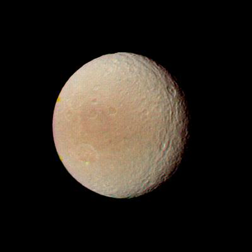 NASA's Voyager 2 obtained this image of Tethys on Aug. 25, 1981, when the spacecraft was 594,000 kilometers (368,000 miles) from this satellite of Saturn.