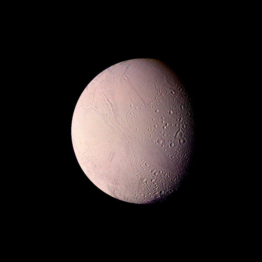 This mosaic of Enceladus was made from images taken by NASA's Voyager 2 on Aug. 25, 1981,  from a distance of 119,000 kilometers (74,000 miles).