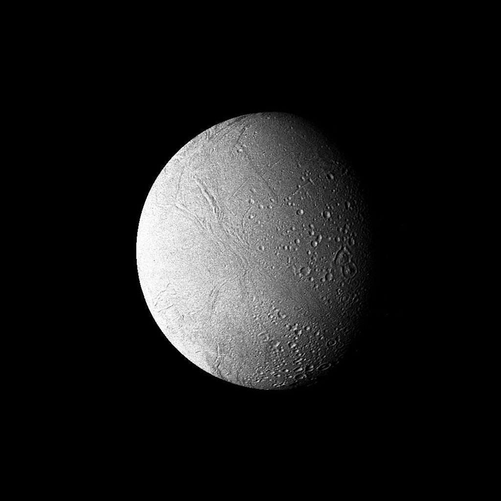 This high-resolution filtered image of Enceladus was made from several images obtained Aug. 25, 1981, by NASA's Voyager 2 from a range of 119,000 kilometers (74,000 miles).