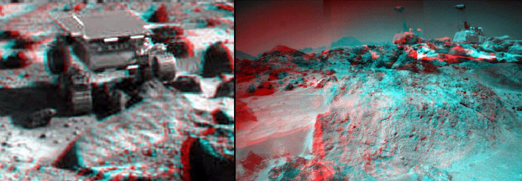 This anaglyph view of 'Ender,' due south of the lander, was produced by NASA's Mars Pathfinder's Imager camera. 3D glasses are necessary to identify surface detail.