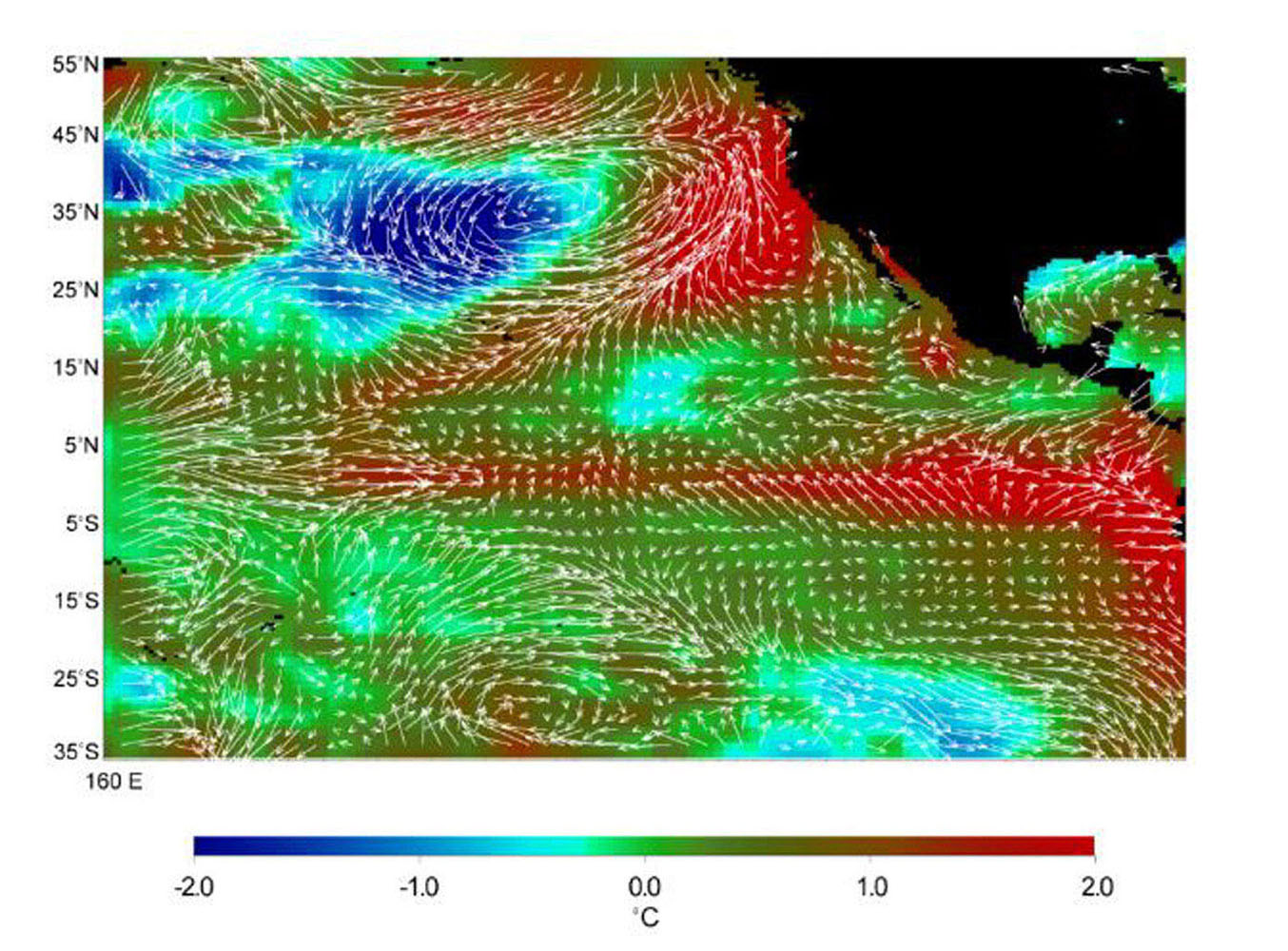 This image displays wind measurements taken by the satellite-borne NASA Scatterometer (NSCAT) during the last 10 days of May 1997, showing the relationship between the ocean and the atmosphere at the onset of the 1997-98 El Niño condition.