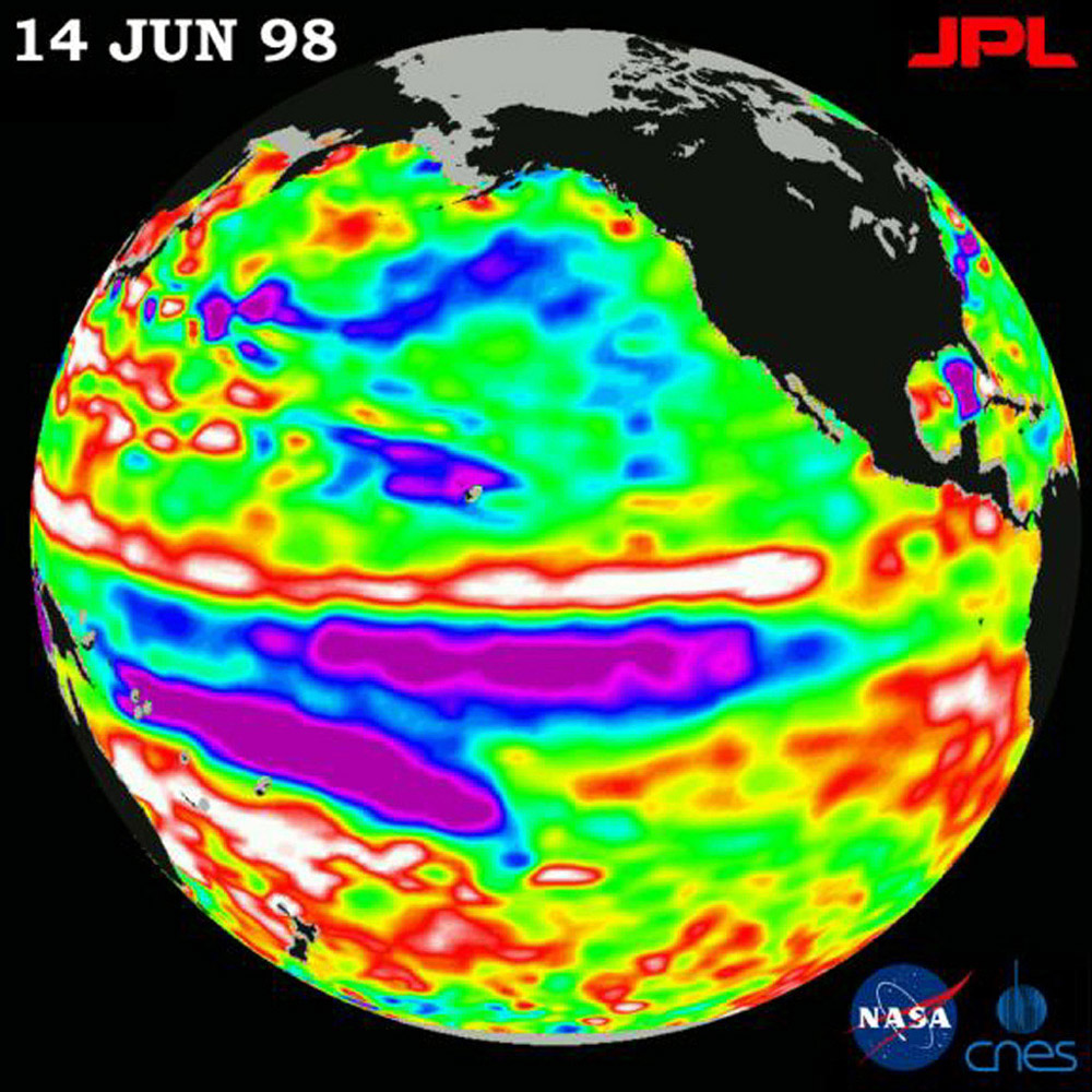This image of the Pacific Ocean was produced using sea-surface height measurements taken by NASA's U.S.-French TOPEX/Poseidon satellite showing sea-surface height relative to normal ocean conditions on June 14, 1998.