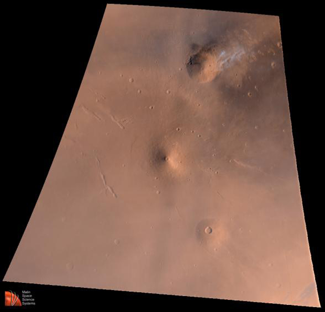 NASA's Mars Global Surveyor acquired this image on July 2, 1998. Shown here is is the Elysium volcanic region on Mars' red surface.