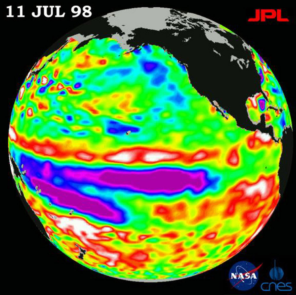 Height measurements taken by NASA's U.S.-French TOPEX/Poseidon satellite. The image shows sea surface height relative to normal ocean conditions on July 11, 1998; sea surface height is an indicator of the heat content of the ocean.