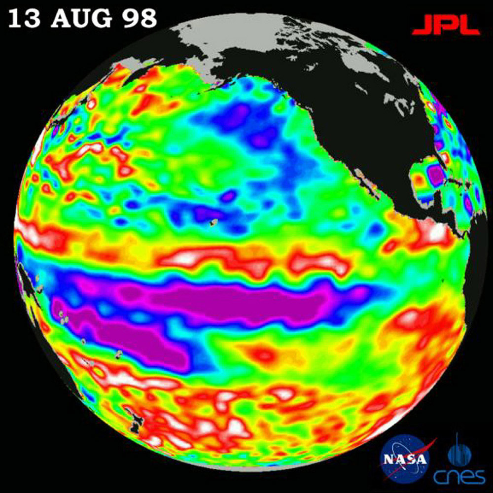This image of the Pacific Ocean was produced using sea-surface height measurements taken by NASA's U.S.-French TOPEX/Poseidon satellite showing sea surface height relative to normal ocean conditions on August 13, 1998.