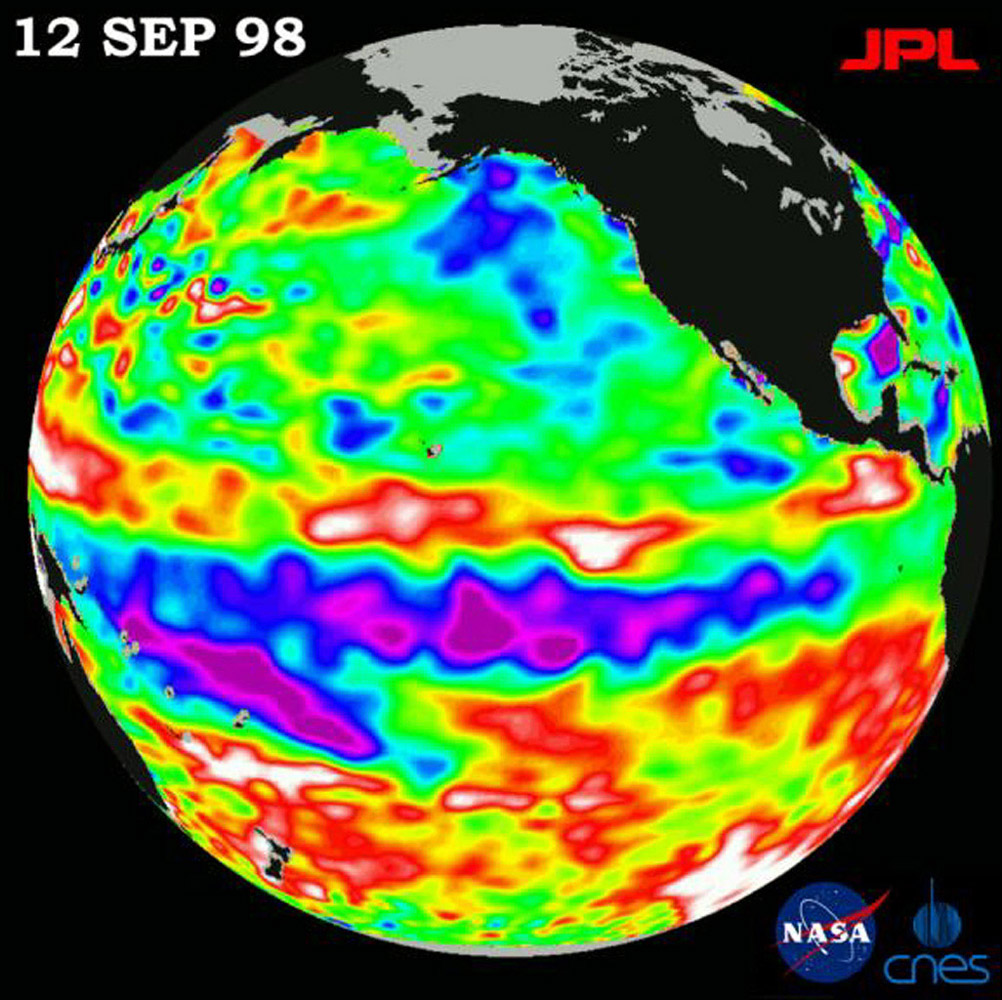 This image of the Pacific Ocean was produced using sea-surface height measurements taken by NASA's U.S.-French TOPEX/Poseidon satellite showing sea surface height relative to normal ocean conditions on September 12, 1998.