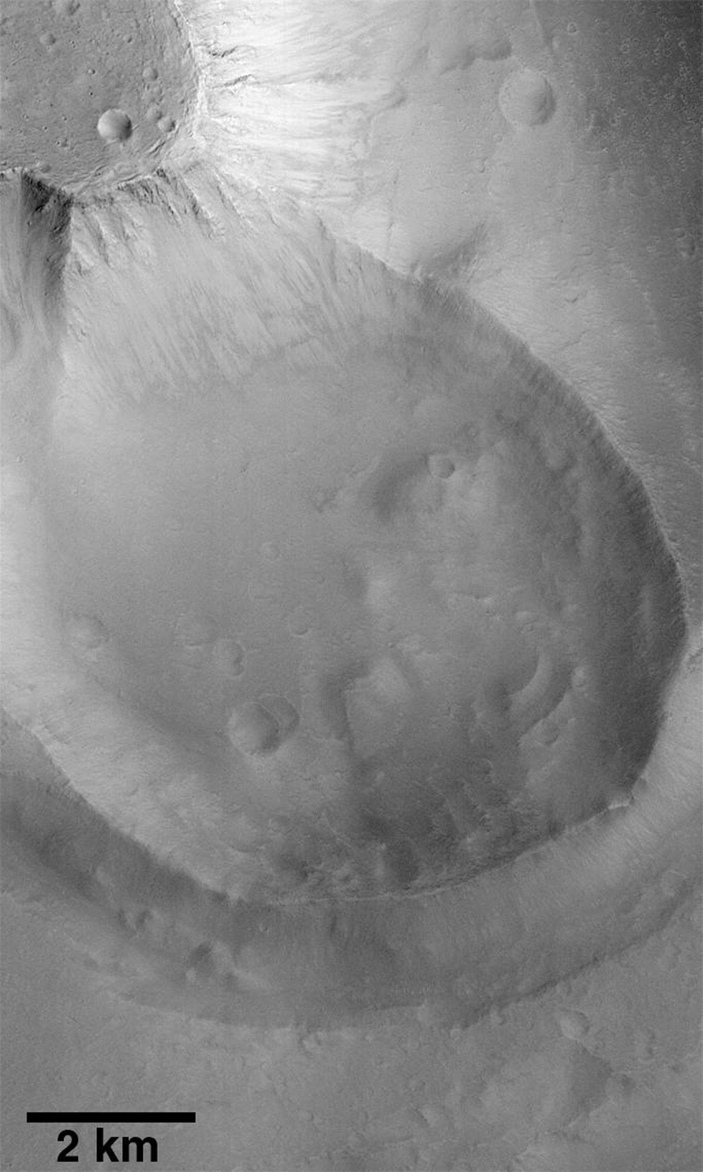 This image taken on June 4, 1998 by NASA's Mars Global Surveyor shows Kasei Vallis, a system of giant channels thought to have been carved by catastrophic floods that occurred more than a billion years ago.