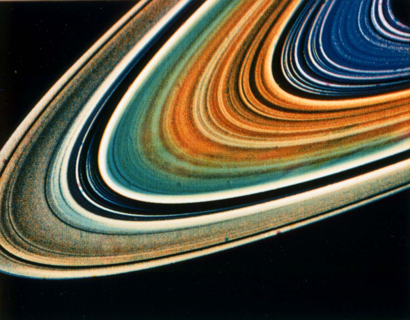 Possible variations in chemical composition from one part of Saturn's ring system to another are visible from Voyager 2.