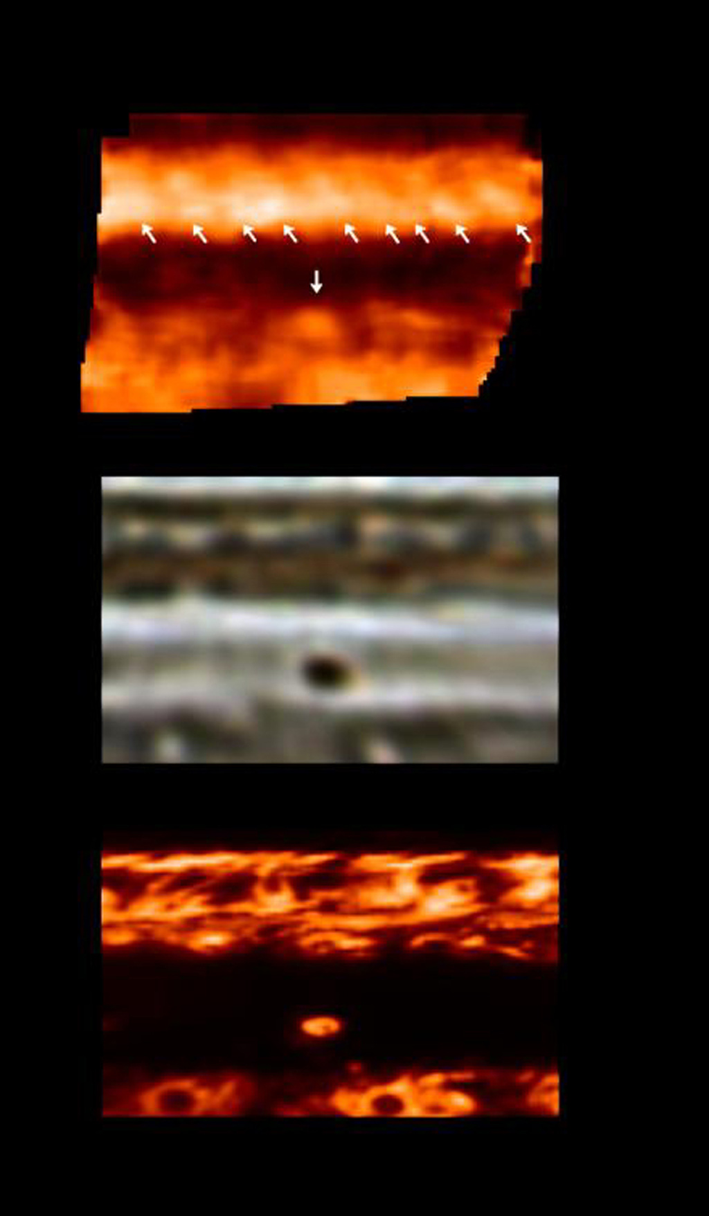 A recently discovered black spot in Jupiter's clouds is darker than any feature ever before observed on the giant planet. These three panels captured by NASA's Galileo spacecraft depict the same area of Jupiter's atmosphere.