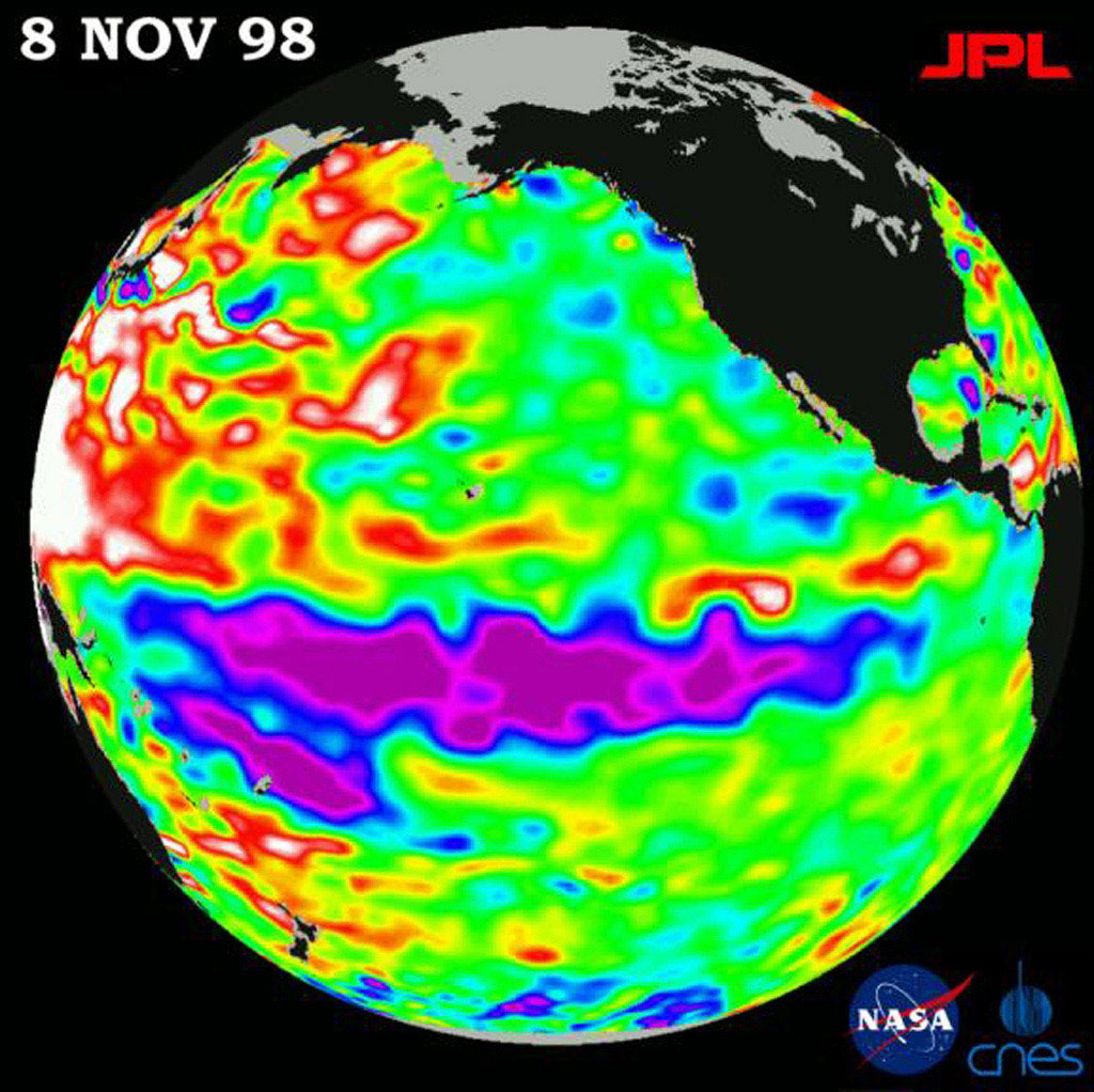 This image of the Pacific Ocean was produced using sea-surface height measurements taken by NASA's U.S.-French TOPEX/Poseidon satellite showing sea surface height relative to normal ocean conditions on November 8, 1998.