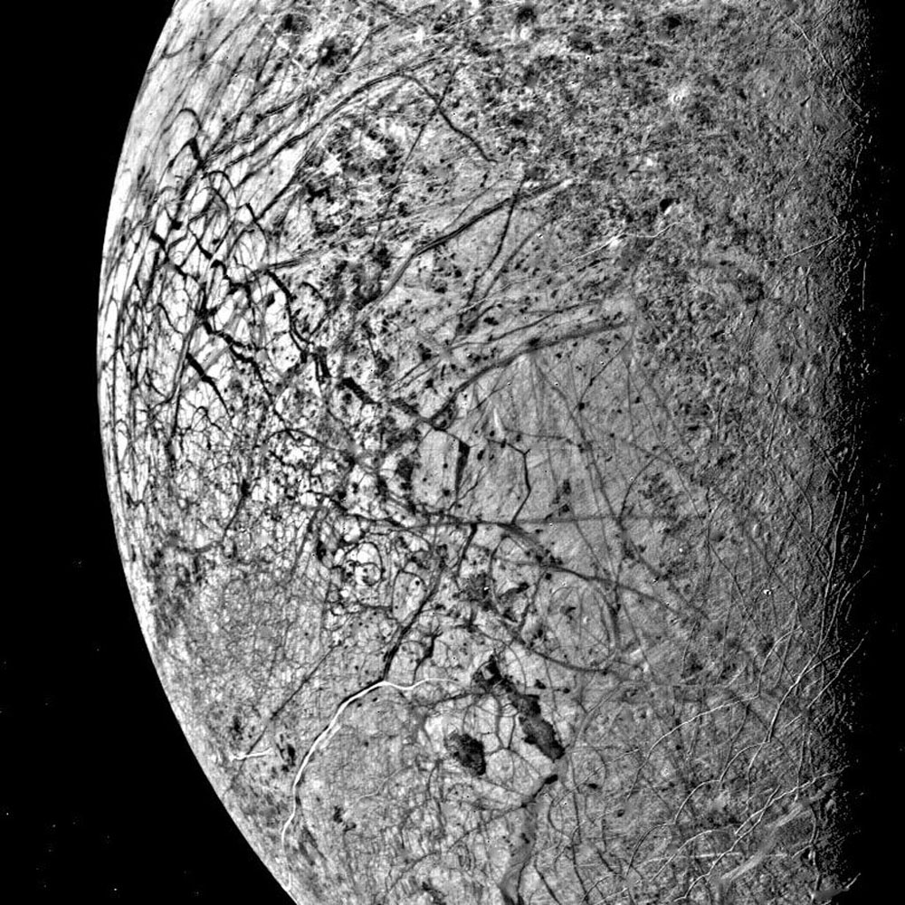 Image of Europa acquired by Voyager 2 on July 9, 1979.