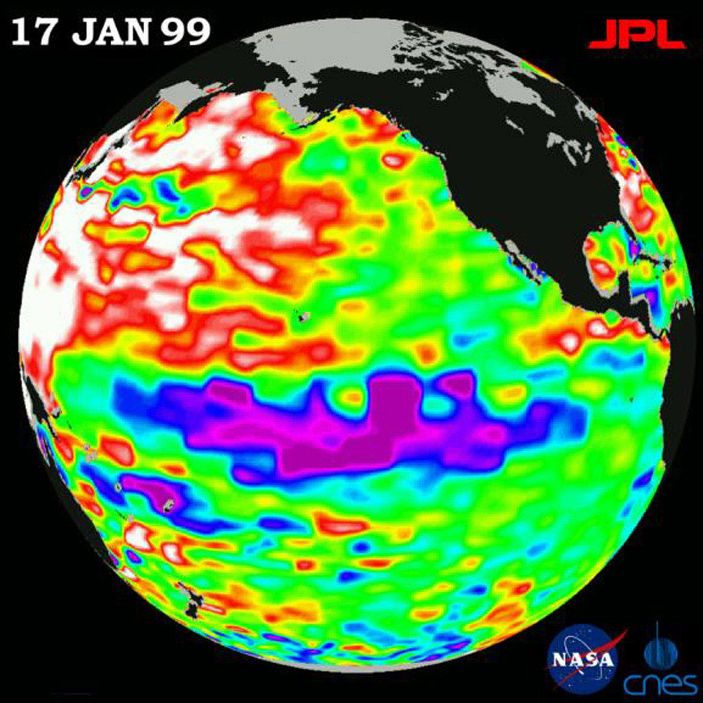 This image of the Pacific Ocean was produced using sea-surface height measurements taken by NASA's U.S.-French TOPEX/Poseidon satellite showng sea surface height relative to normal ocean conditions on January 17, 1999.