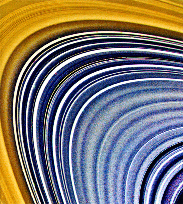 This view focused on Saturn's C-ring (and to a lesser extent, the B-ring at top and left) and was compiled from three separate images taken by NASA's Voyager 2 on Aug. 23, 1981.