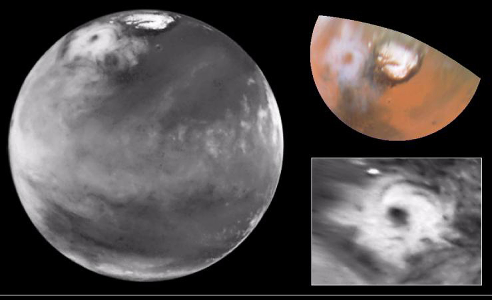 Here is the discovery image (left) from NASA's Hubble Space Telescope of the Martian polar storm as seen in blue light (410 nm). The storm is located near 65 deg.
