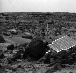NASA's Mars Pathfinder rover Sojourner is seen traversing near 'Half Dome' in this image, taken on Sol 59, 1997 by the Imager for Mars Pathfinder (IMP).