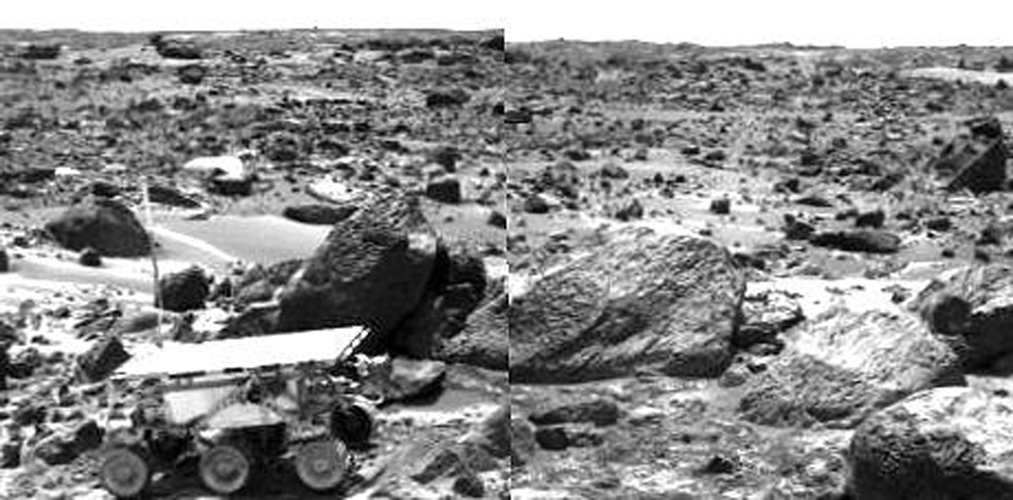 This is the right image of a stereo image pair taken on the afternoon of Sol 71 (September 14) shows NASA's Sojourner leaving the 'Rock Garden,' an assemblage of large rocks behind and to the right of the rover. Sol 1 began on July 4, 1997.
